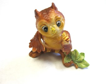 Linda Powell Owl Figurine 1980 Hoot owl Cloverleaf Collection L K Powell Signed