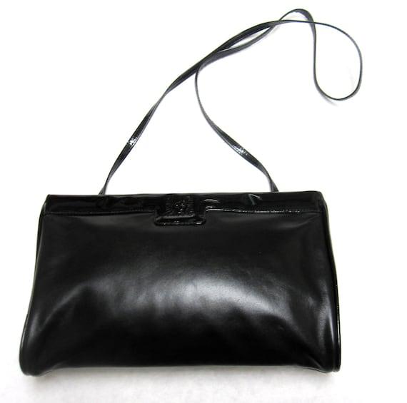 Anne Klein Black Leather Clutch Purse