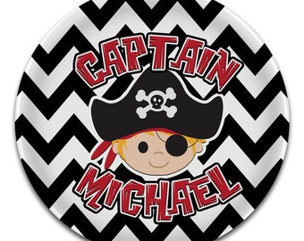 Monogram PLATE - Melamine - Black Chevron Stripe PIRATE BOY Captain - Name - Personalized Custom