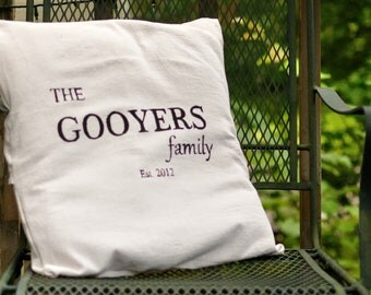 Family Name Pillow Cover
