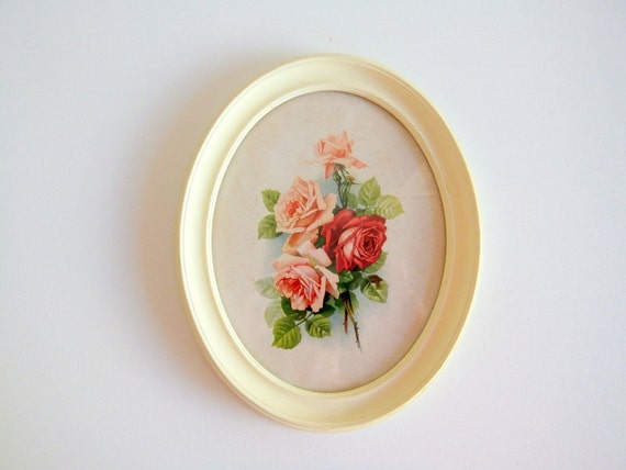 Oval Framed Roses Picture, Cottage Chic