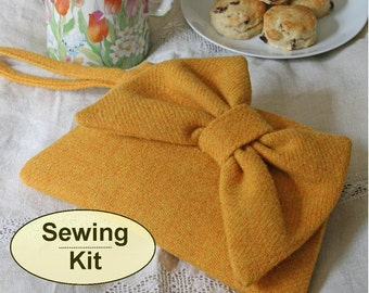 Sewing kit to make the Bon-Bon Clutch Purse - limited edition sunshine yellow handwoven Harris Tweed, and pattern included