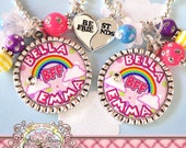 Colorful RAINBOW Best FRIEND Necklaces, BFF, Clouds, Personalized, (2 necklaces), Heart Best Friend Charms, Best Friends Forever, Birthday