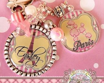 Personalized Paris EIFFEL TOWER Bottle Cap Necklace, Shabby Chic with Fleur De Lis Charm, Wedding, Mother, Birthday, France, Poodle