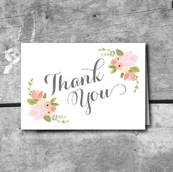 Wedding Gift Card Free Download : ... Card - INSTANT DOWNLOAD PRINTABLE Thank You card Rustic Floral Wedding