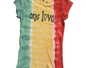 Inventory SALE! womens rasta tie dye tshirt with One LOVE