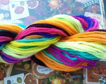 Wool Needlepoint Yarn Sampler Big Hank - 13 colors 3-Ply Persian Wool Tapestry Yarn 130 yards Variety vintage stock crewel embroidery supply