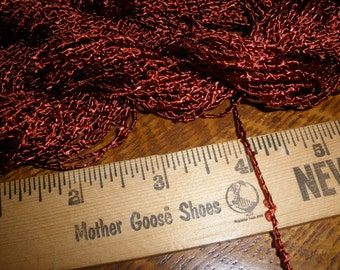 "Vintage Shiny Textured 1/16"" Cord Trim- 15 yards -Rust -Jewelry Making Gift Tie embellishment scrapbook weaving packaging"