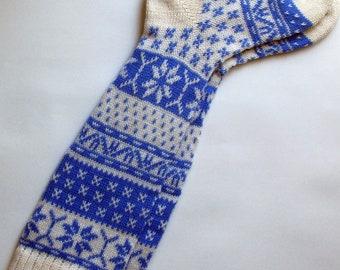 Back to school Scandinavian pattern rustic autumn fall knit knee-high blue and white wool socks CUSTOM MADE