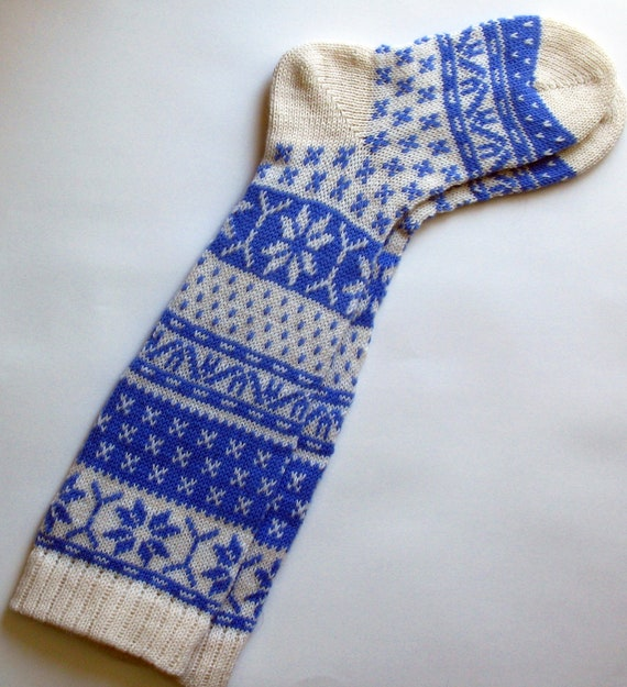Back to school Scandinavian pattern rustic autumn fall knit knee-high blue and white wool socks CUSTOM MADE