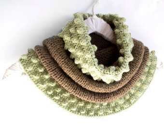 Cowl in Milk Chocolate Brown and Mint Green, Hand-knitted Winter Accessories, Bohemian Scarf