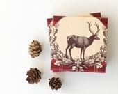 Christmas Coasters Classic Vintage Deer Wreath on Tartan Plaid Ruby Red set of 4