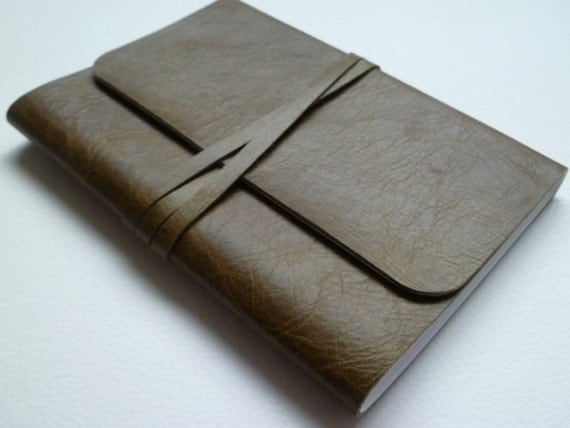Leather Bound Notebook Olive Green with Antique finish. Handmade