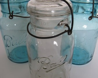 SALE, SALE, SALE!  Set of 3 Vintage Ball Mason Jars--2 Blue and 1 Clear