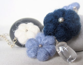 Felted Flower Necklace with Crystal Quartz Drop. Blue and White on Sterling Silver Cable Chain. Gift for her.