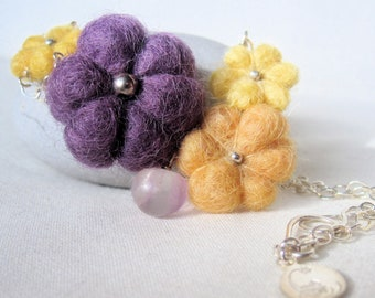 Felted Flower Necklace Purple Orange Yellow. Gift for her. Fluorite Drop on Sterling Silver Chain.