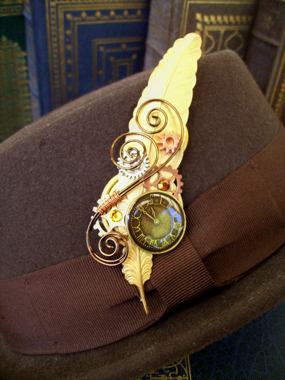 Steampunk Hat Pin or Brooch (HA30) - Raw Brass Feather - Brass Clockface - Gears - Swarovski Crystals