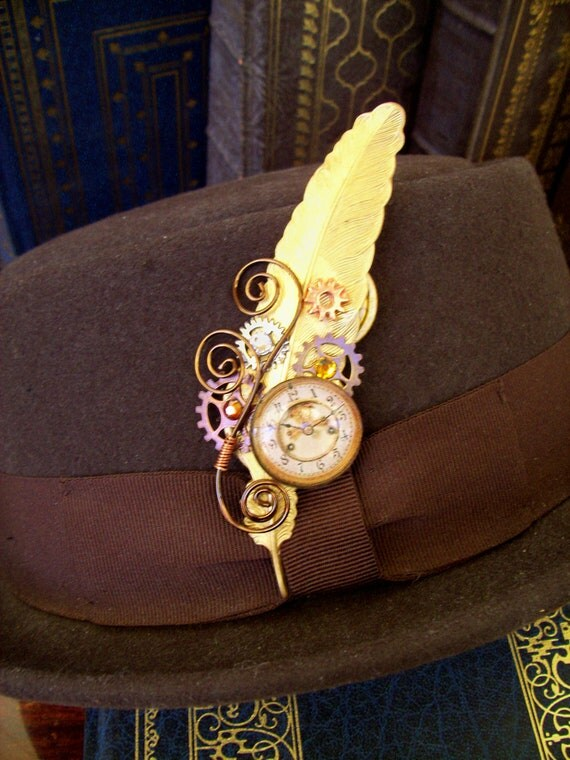 Steampunk Hat Pin or Brooch (HA33) - Raw Brass Feather - Glass Clockface Cabochon - Gears - Swarovski Crystals