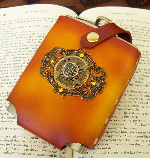 Steampunk Flask (F88) - Yellow Blonde Leather Holster - 8 ounce Stainless Steel Flask - Time Travel Design - Swarovski Crystals