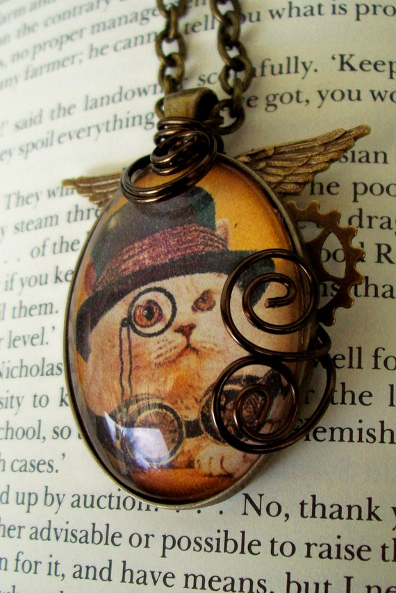 Steamunk Cat Necklace (N136) - Pendant - Artwork under Glass Cabochon - Wings - Gear - Wire Wrapped