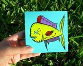 Art Block - Mahi Mahi Fish teal blue