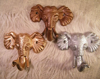 Wall Hook / Animal Hook / White Elephant Gift / Metallic Choose from Copper- Aluminum Silver - Yellow Gold -Towel Holder - Jewelry Holder