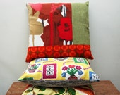 original 1960s Howard Carter  fabric collage cushion cover
