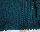Custom Order for KATHY - Made To Order - Lacy Teal Crocheted Afghan 54 in wide x 72 in long