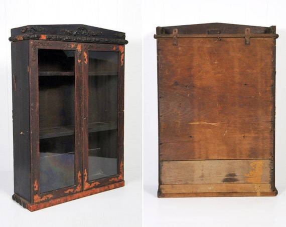 Antique 1800's Apothecary Cabinet w/ Glass Doors