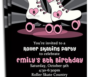 Roller Skating Invitation Printable or Printed with FREE SHIPPING - Roller Skate Love