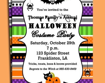 Halloween Invitation Printable or Printed with FREE SHIPPING- ANY Wording - Fun and Fabulous Halloween Party Collection