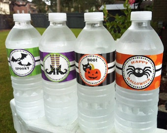 PERSONALIZED Printable Halloween Party Drink Water Labels - Fun and Fabulous Halloween Party Collection