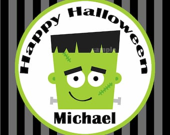 Boy's Halloween Party Treat Tags Printable - Labels or Cupcake Toppers - Frankenstein