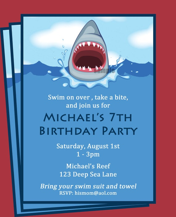 Shark Invitation Printable - Printable or Printed with FREE SHIPPING - Personalized for your Party - Boy's Pool Party, Swim Party