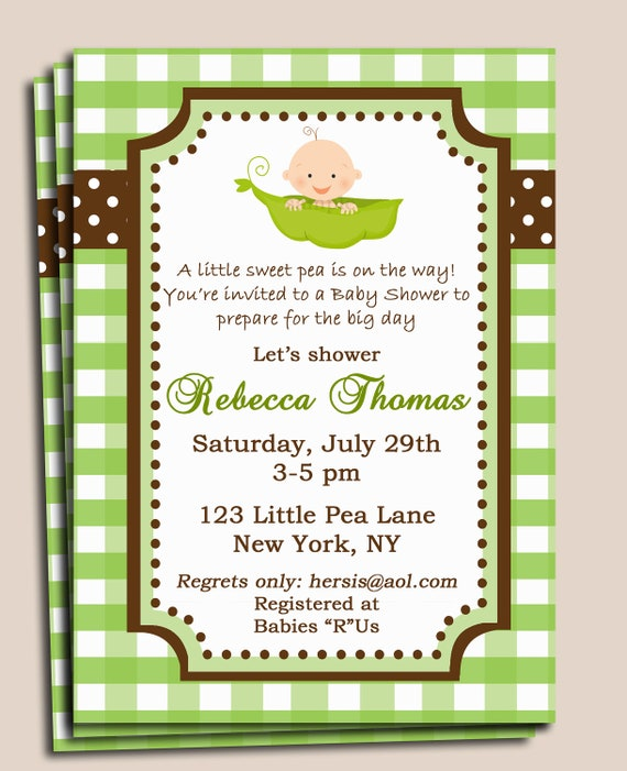 Pea in a Pod Baby Shower Invitation Printable or Printed w/ FREE SHIPPING (pick skin tone/ add peas/Pink Bow) - My Sweet Lil' Pea Collection