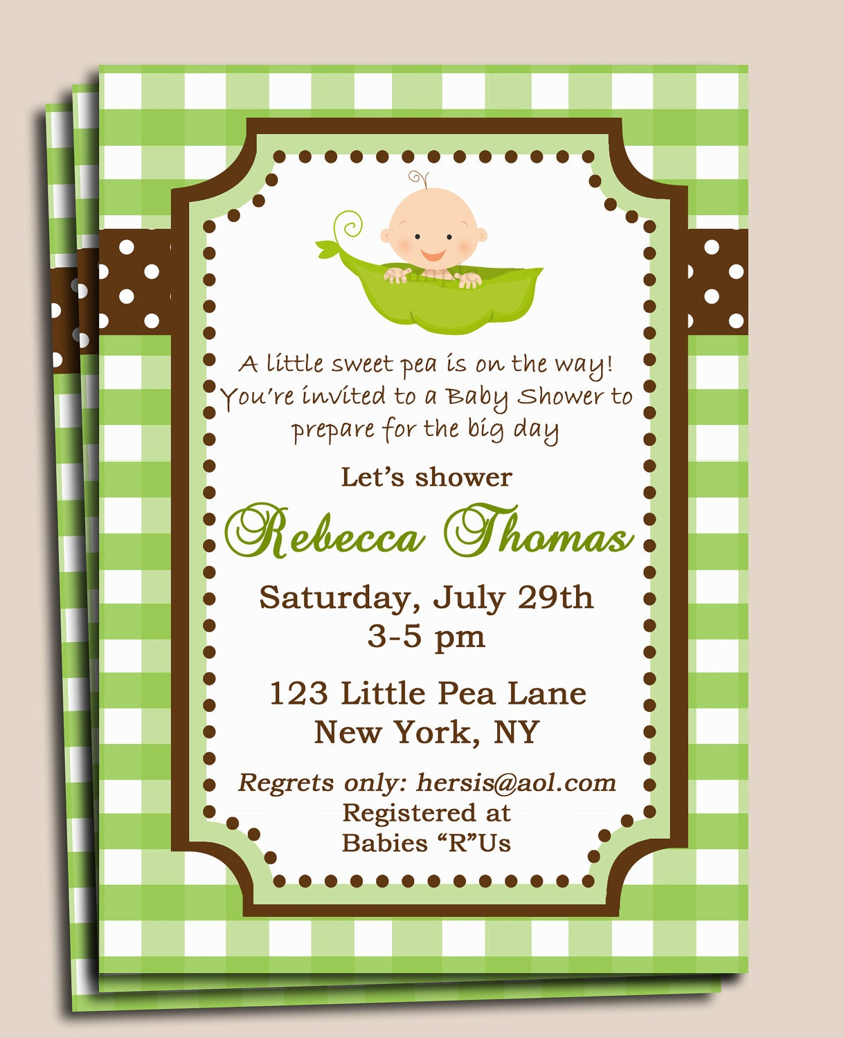 pea in a pod baby shower invitation printable or by thatpartychick