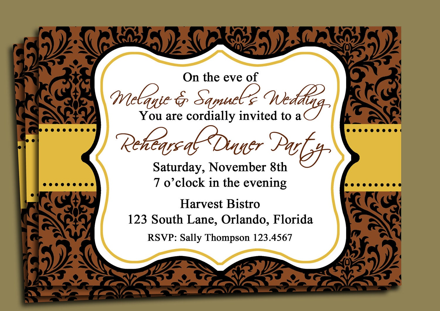 Brown Damask Invitation Printable Fall Party Thanksgiving – Fall Party Invitation Wording