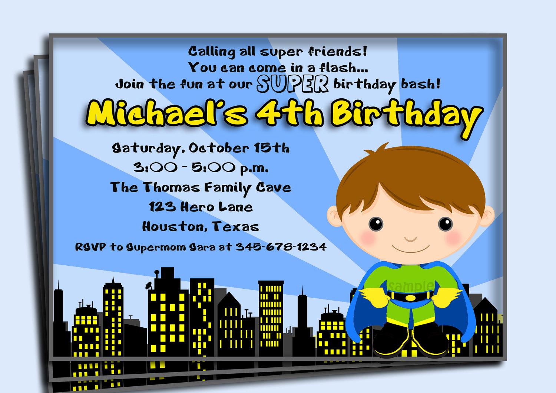 Superhero Birthday Invitation Printable or Printed with FREE – Superhero Birthday Invitations Free Printable