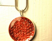 Red Glass Necklace/ Necklace/ Pendant/ Vintage/ Necklaces/ Pendant/ Jewelry/ Women