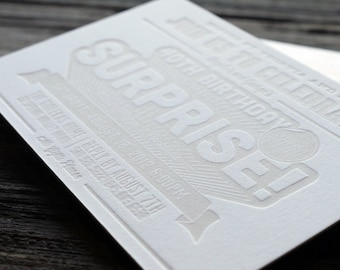 Letterpress & Custom Designed Birthday Invitations 40qty