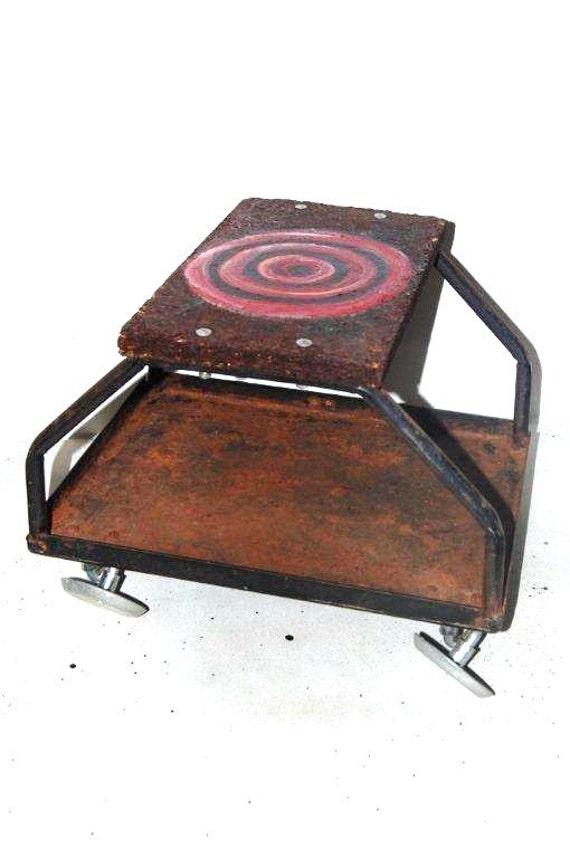 Mechanics Creeper Cart, Industrial Stool, Metal Casters, Wood Top, Vintage Stool,
