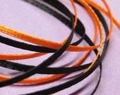 ribbon 2mm narrow satin flat double sided orange & black 2 yards thin miniature dollhouse size halloween