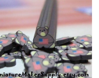 brown teddy bear polymer clay cane American Flag uncut 1pc for nail art supplies miniature fake foods and decoden red white and blue DIY