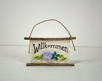 Quilled Magnet -255- Willkommen - German Welcome, Kitchen Decor, Party Favor