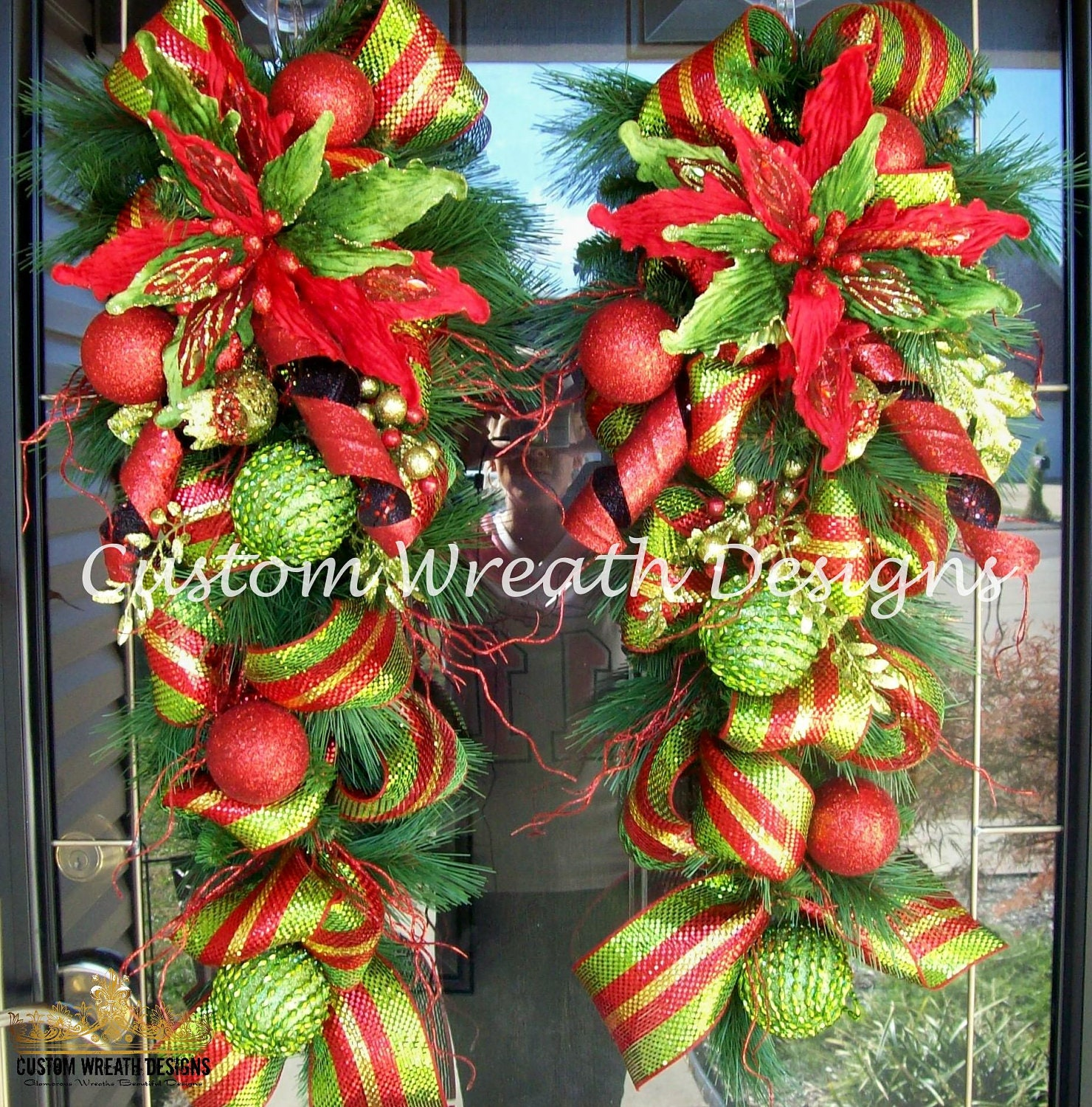 Set Of Two Christmas Door Swags
