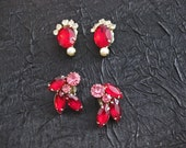 Two beautiful pairs of red rhinestone earrings