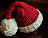 Chunky Knit Santa Hat - Perfect Holiday Photo Prop Available in Newborn through Adult sizes