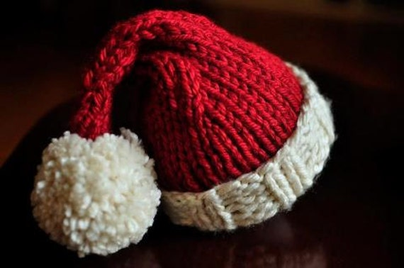 Chunky Knit Santa Hat Perfect Holiday Photo Prop by LindseysLoops