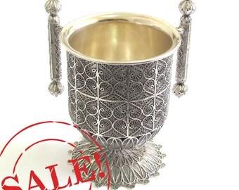 SALE 10% OFF - 925 Sterling Silver, Hand Washing Cup (Jewish ritual), Artisan, Filigree, Judaica - Free Express Shipping ID1894