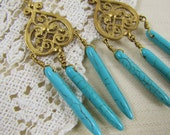 Golden Baroque- Vintage Style Chandelier earrings with genuine turquoise stones- one of a kind